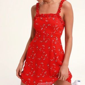 NEW Lulus In The Garden Red Floral  Skater Dress-L